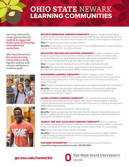 Buckeye Learning Communities flyer (print version)