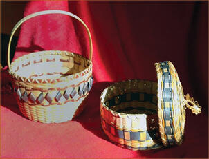 2 baskets with beautiful colored weaving throughout