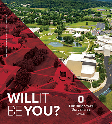 Cover art of viewbook with aerial view of campus