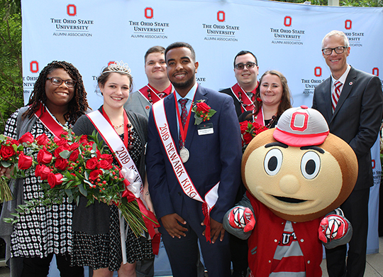 2019 Homecoming Court pose with Dean/Director William L. MacDonald