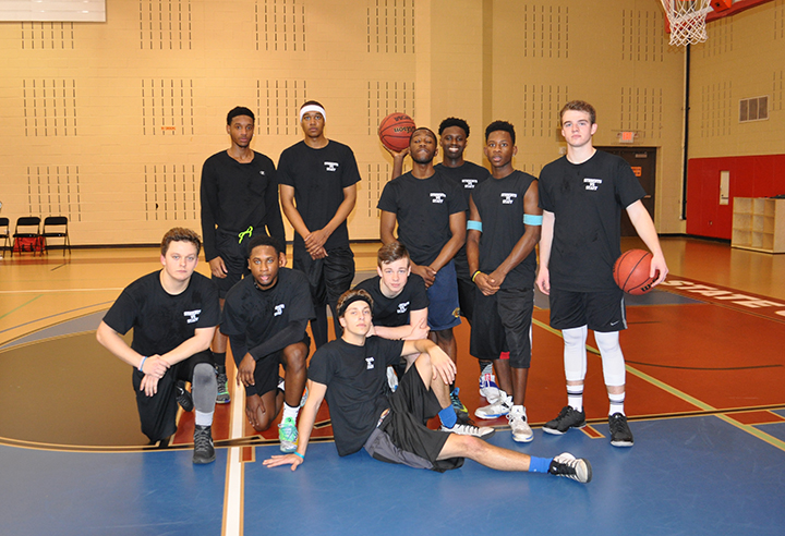 Winning student basketball team
